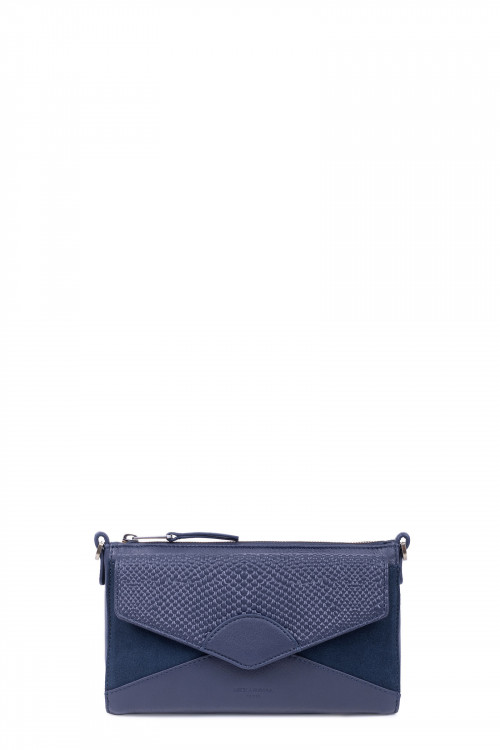 Snake printed leather & velvet clutch bag