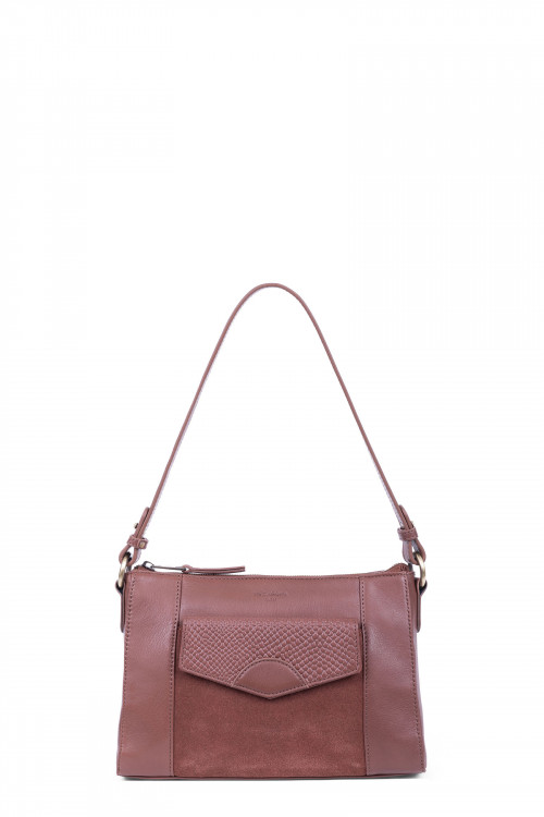 Snake printed leather and velvet shoulder bag