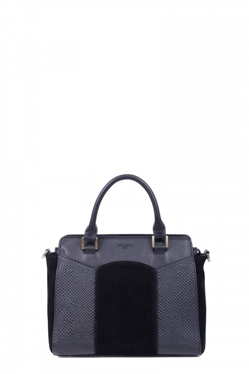 Snake printed leather and velvet handle bag