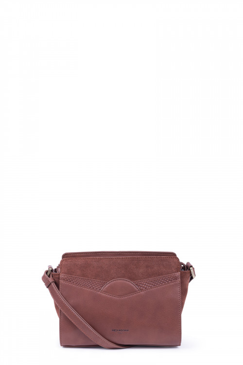 Snake printed leather and velvet crossbody bag