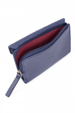 Snake printed leather and velvet wallet