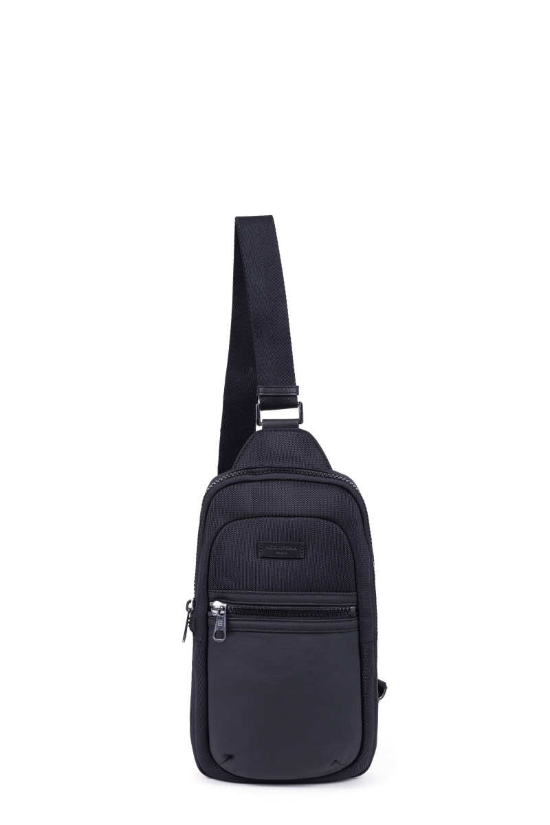 Nylon with split leather 1 shoulder strap backpack