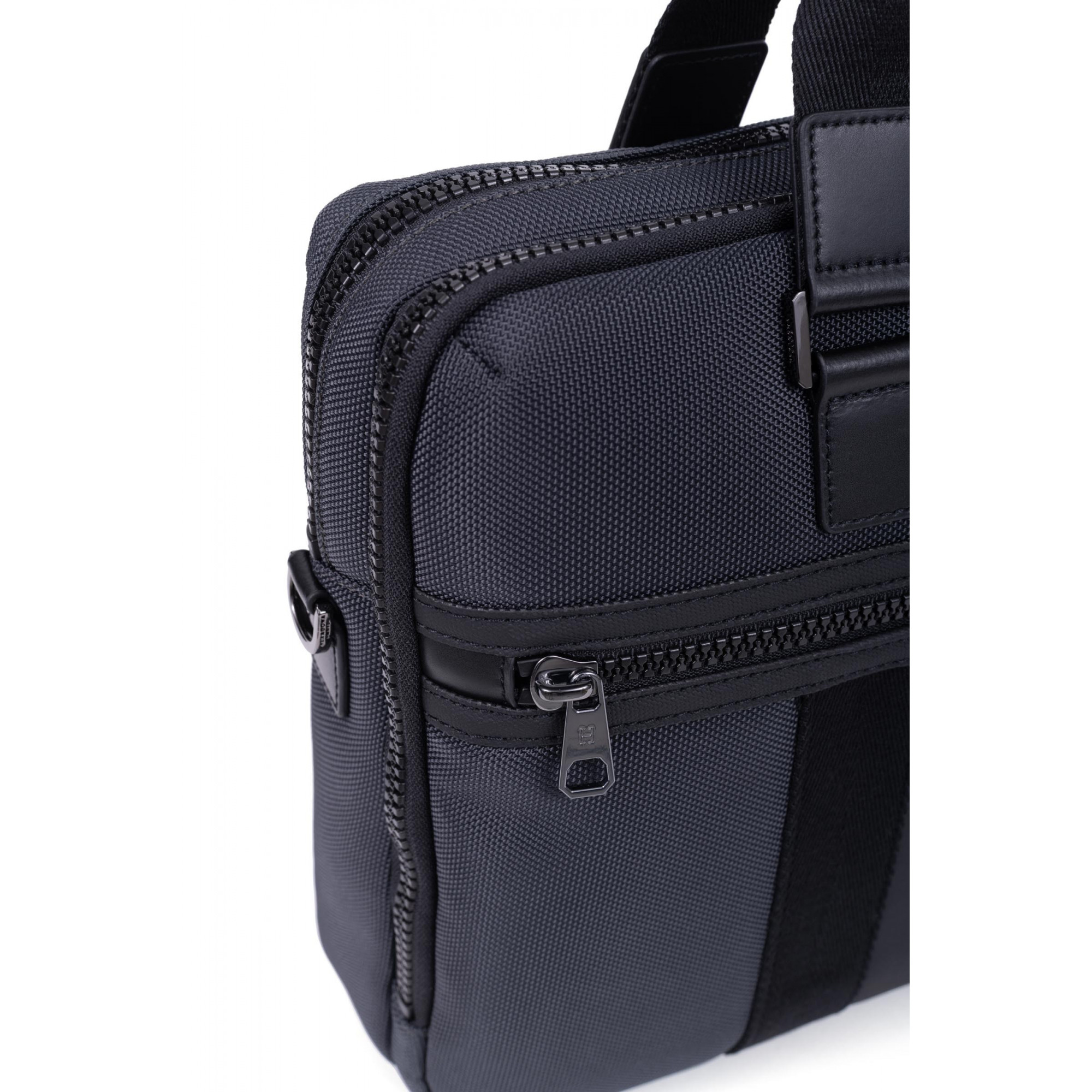 Nylon with split leather computer bag