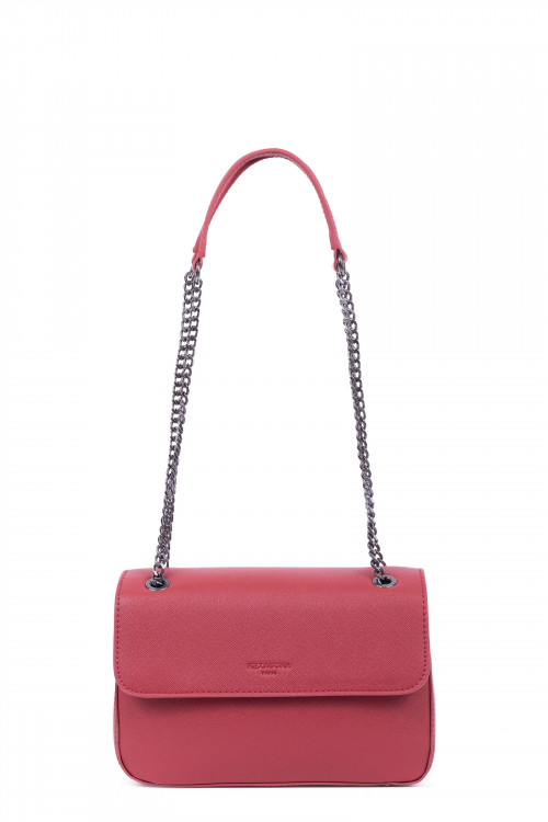 Saffiano printed grained synthetic shoulder bag