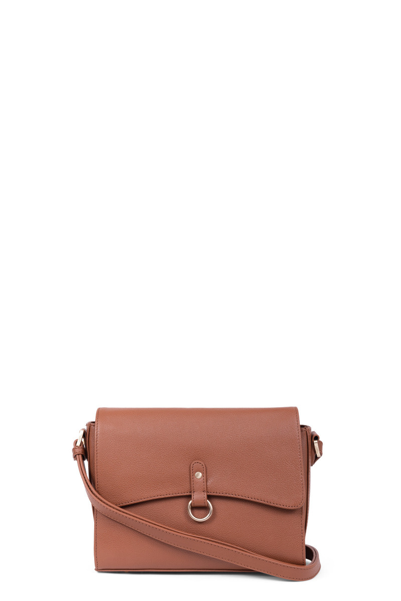 Grained leather crossbody bag