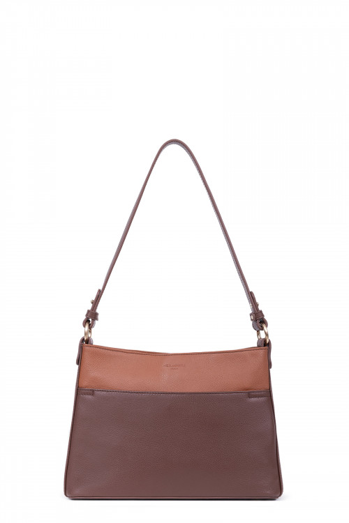 Grained leather 1 handle shoulder bag