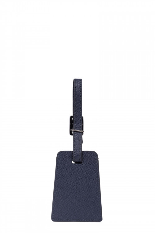 Premium grained leather luggage tag holder