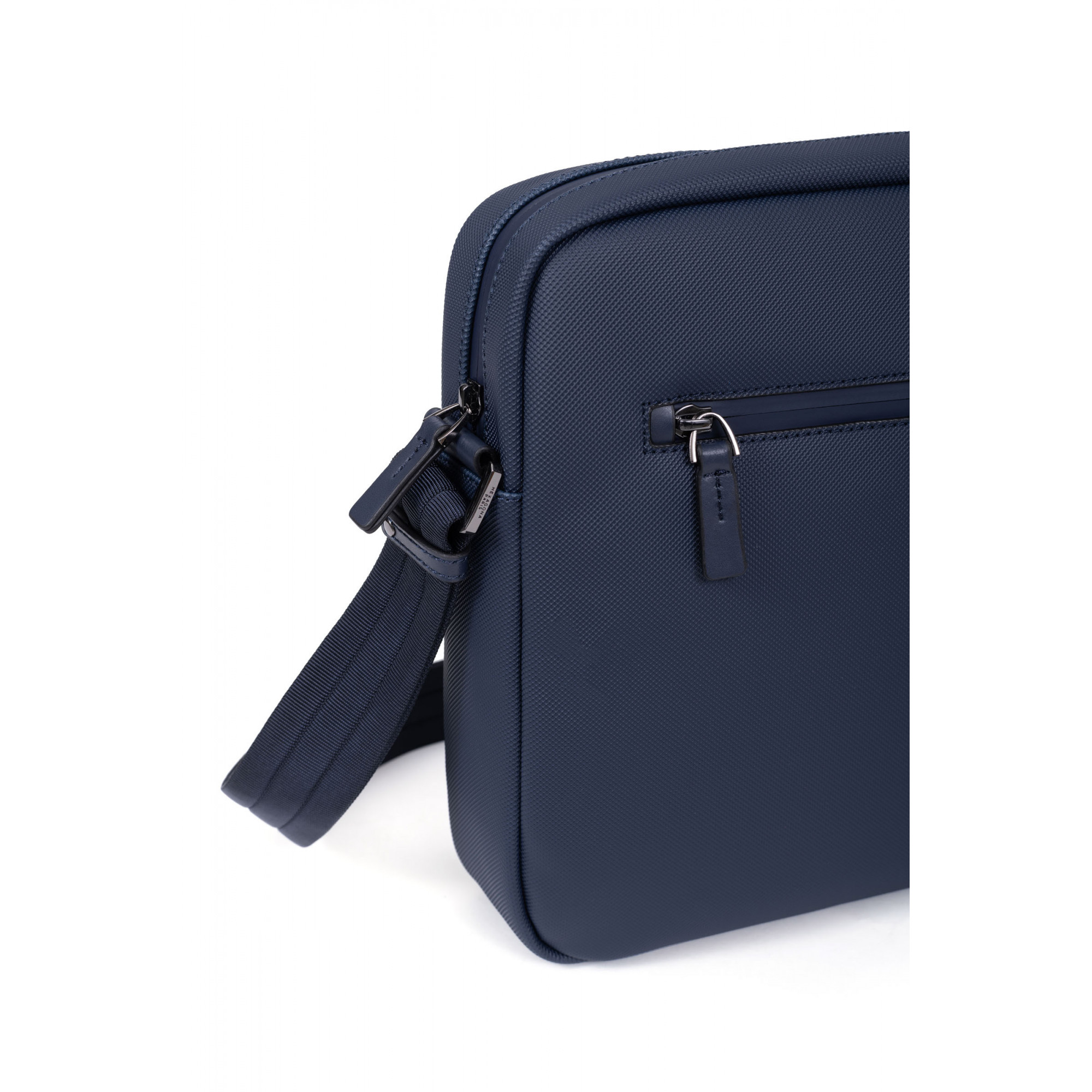 Synthetic with leather flap crossbody bag