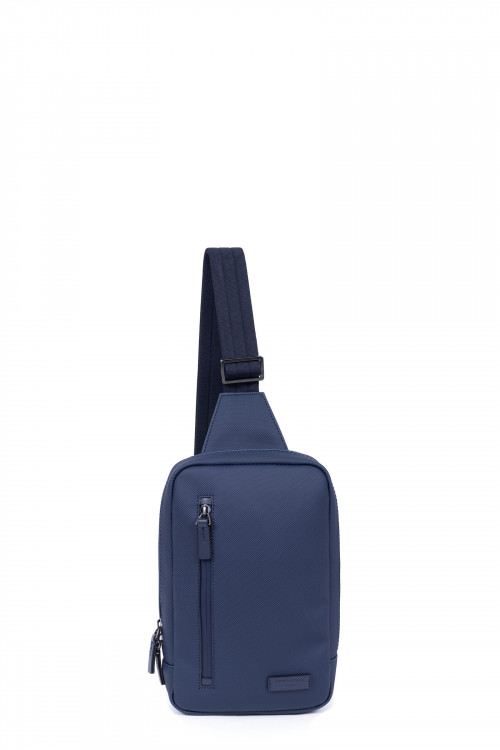 Synthetic with split leather one strap backpack