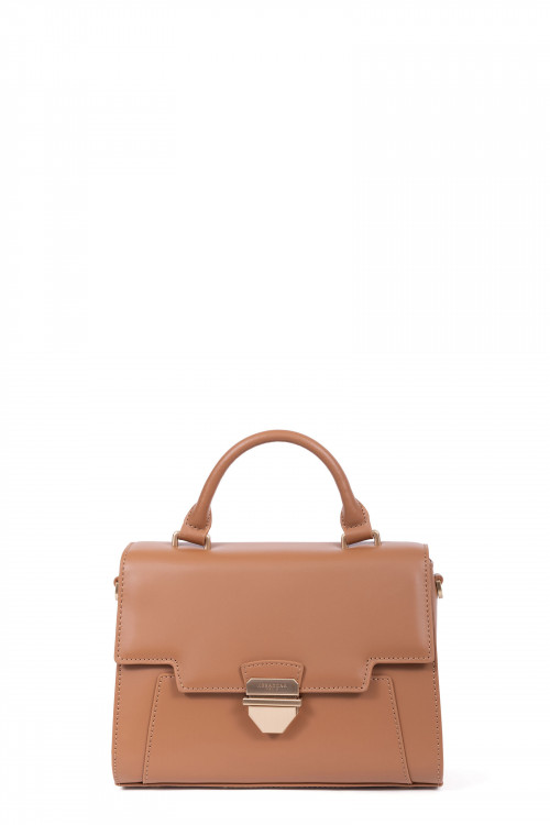 Dull smooth split leather handle bag