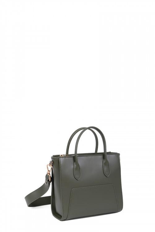 Dull smooth split leather handle bag