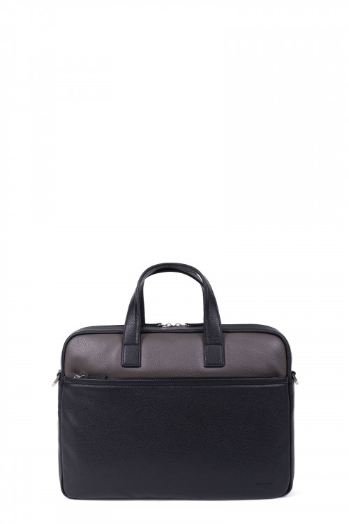 Grained leather computer bag
