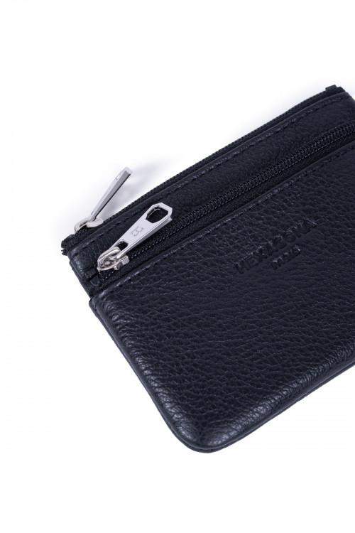 Grained leather purse
