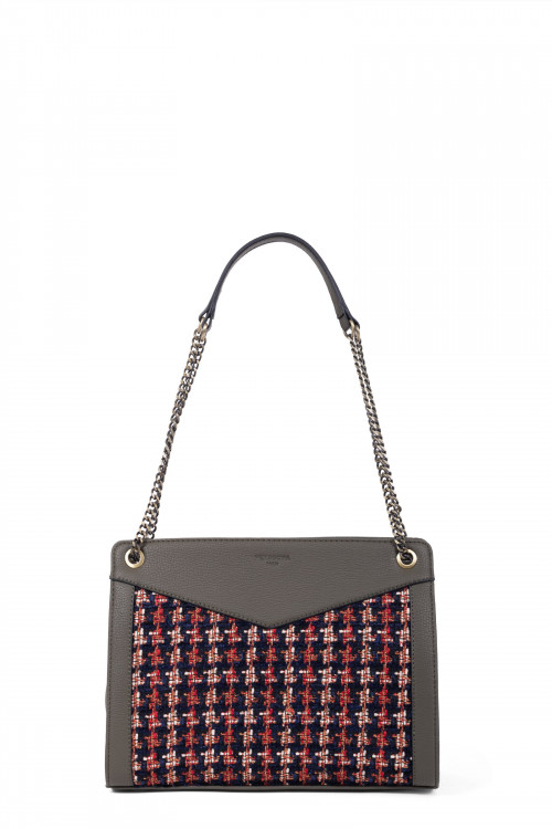 Tweed and grained synthetic 2 handles shoulder bag