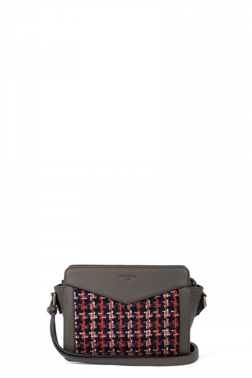Tweed with grained synthetic crossbody bag