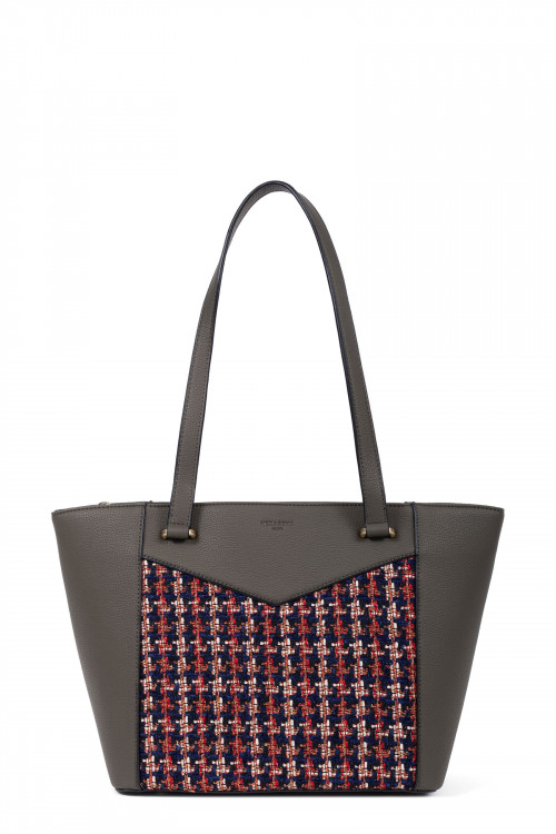 Tweed and grained synthetic totebag