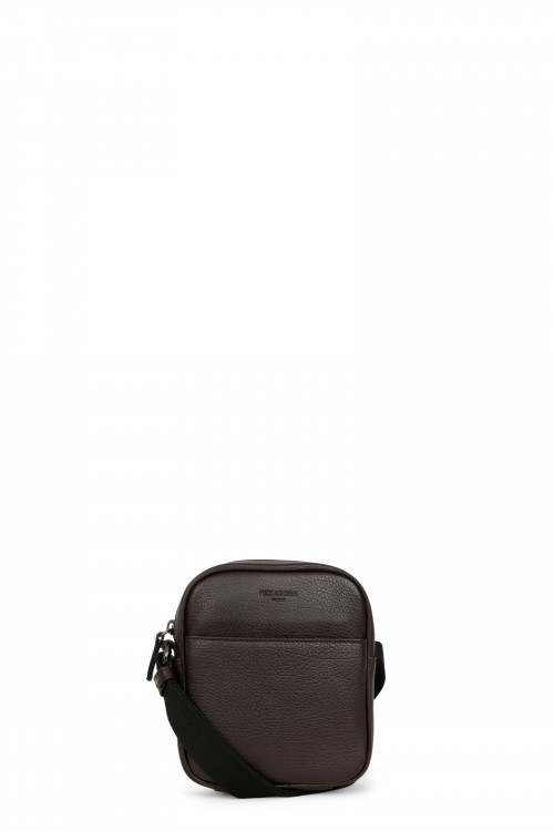 Buffalo grained leather small crossbody bag