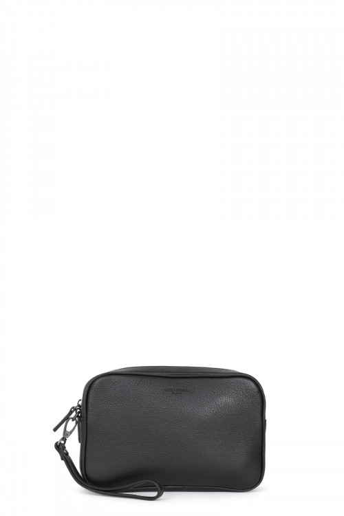 Buffalo grained leather hand clutch bag
