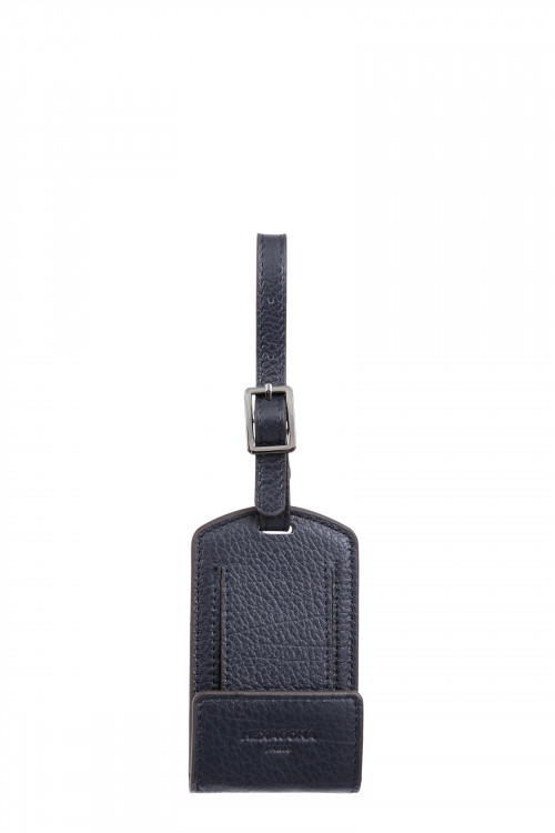 Buffalo grained leather luggage tag holder