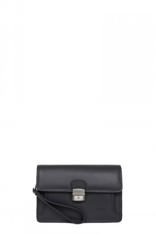 Leather hand clutch bag