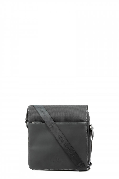 Nylon with leather flap crossbody bag