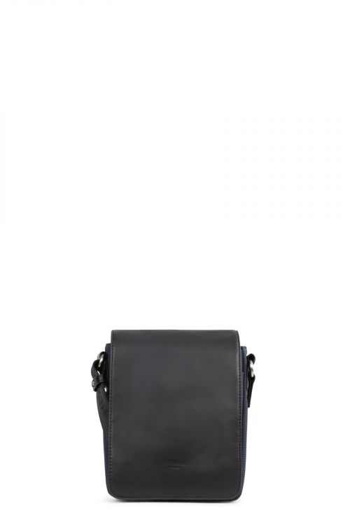 Nylon with glazed cowhide leather small cross-body bag